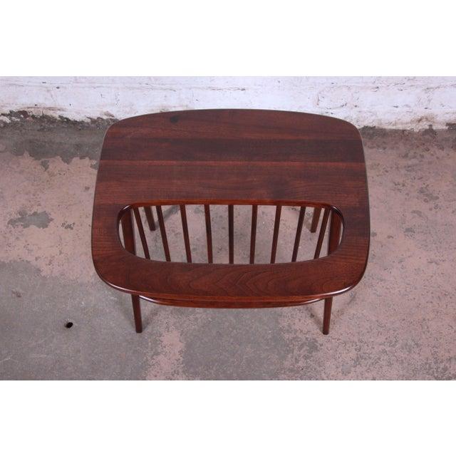 Arthur Umanoff Arthur Umanoff Mid-Century Modern Walnut Magazine Rack Side Table For Sale - Image 4 of 7