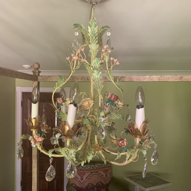 Green Iron Floral Chandelier For Sale - Image 10 of 13