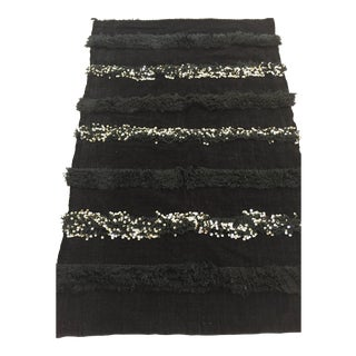 Vintage Black Moroccan Throw Blanket With Silver Sequins and Fringes
