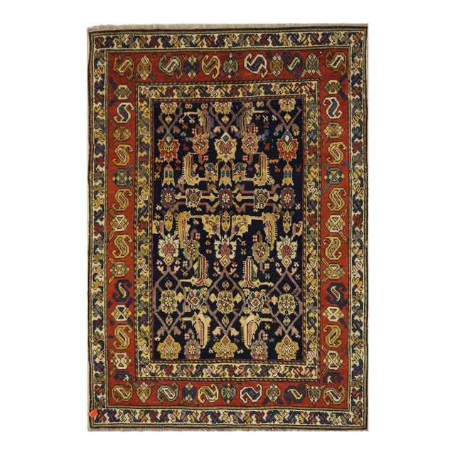 """Traditional Caucasian Wool Rug - 3'3"""" x 4'8"""" For Sale"""