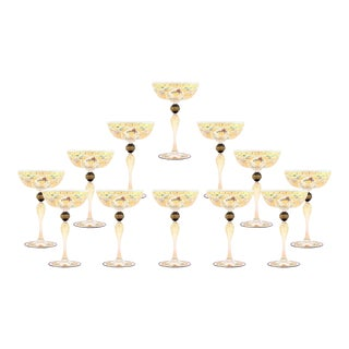12 Handblown Venetian Salviati Hand-Painted Gold Champagne Coupes with Birds For Sale