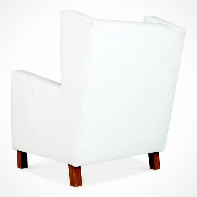 1960s Jacaranda and White Leather Wingback Armchairs, Brazil, Circa 1960 For Sale - Image 5 of 10