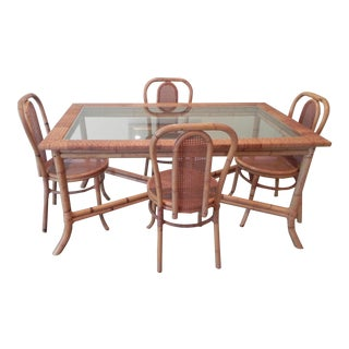 Rattan Dining Table and 6 Chairs For Sale