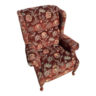 Burgundy Floral Tapestry Wingback Chair For Sale