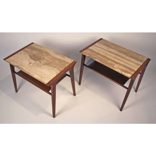 Drexel John Van Koert Walnut and Travertine Side Tables for Drexel For Sale - Image 4 of 10