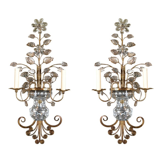 1930s French Gilt Metal Sconces - a Pair For Sale