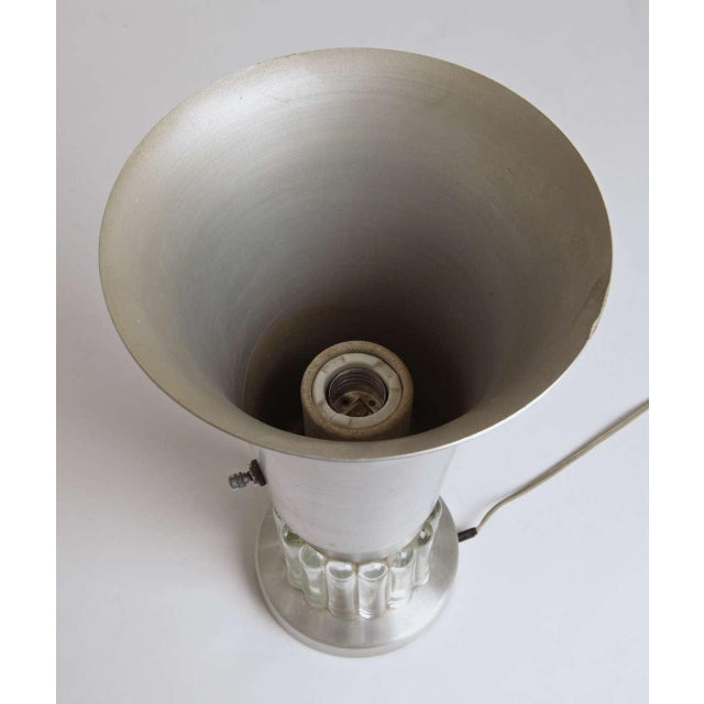 Machine Age Russel Wright Style Art Deco Spun Aluminum and Glass Lamp For Sale In Dallas - Image 6 of 11