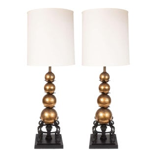 1940s Gilded Spheres and Wrought Iron Spherical Art Moderne Table Lamps - a Pair For Sale