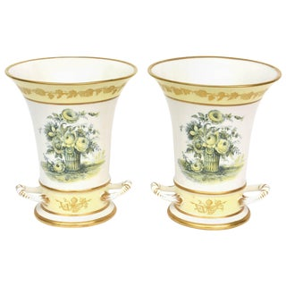 Pair of Vases, Mottahedeh, Pretty Yellow Floral Design, Vintage For Sale