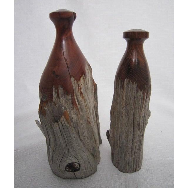 Mid Century Burl Wood Vases - Pair - Image 3 of 4