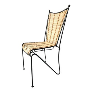 Ficks & Reed Mid-Century Modern Bamboo & Rod Iron Dining Chair For Sale