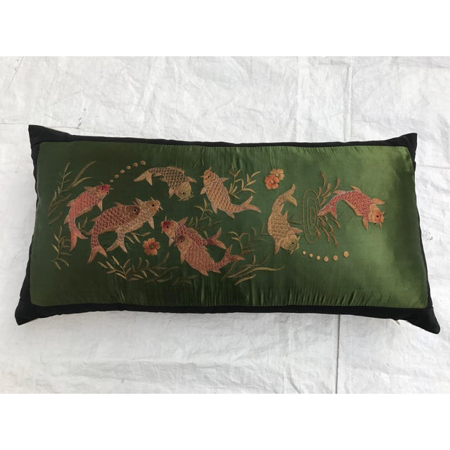 Jade green silk embroidered koi fish pillow chairish for Koi fish pillow