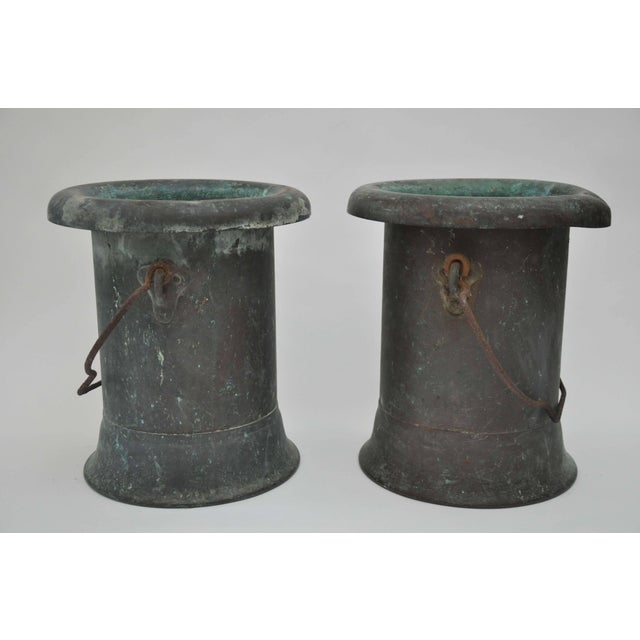 Metal 19th Century Pair of Verdigris Vessels From France For Sale - Image 7 of 11