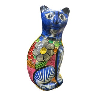 Vintage Mid Century Modern Hand Painted Large Pottery Cat For Sale