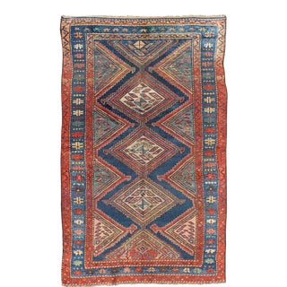 Antique Malayer Tribal Rug With Diamond Design For Sale