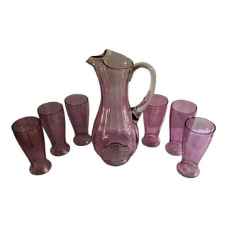 Vintage Pink Glass Pitcher and Glasses - Set of 7 For Sale