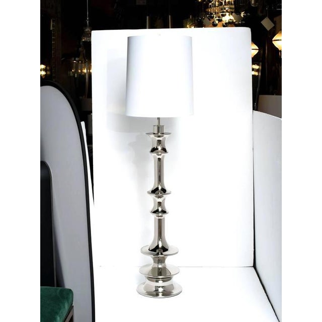 Contemporary Pair of Hollywood Regency Sculptural Floor Lamps in Nickel For Sale - Image 3 of 10