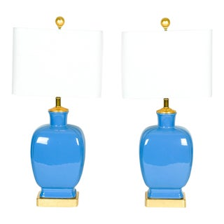 Pair of Porcelain Periwinkle Blue Task Table Lamps