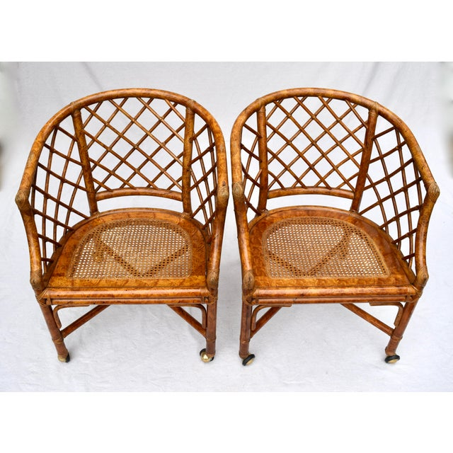 Chinoiserie Chinese Chippendale Rattan Barrel Chairs on Casters For Sale - Image 12 of 13