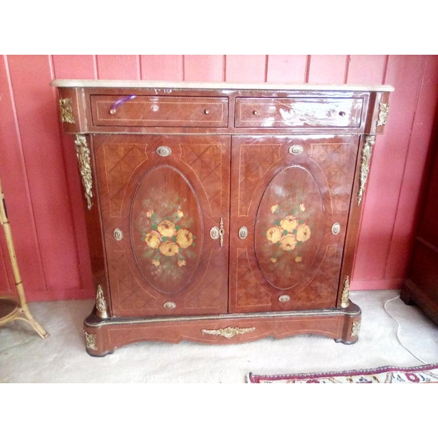 1960 French Server With Painted Floral Motif For Sale - Image 11 of 11