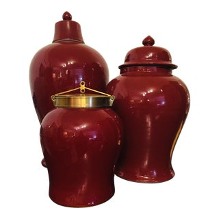 Complementary Ox Blood Asian Style Jars With Lids - Set of 3 For Sale