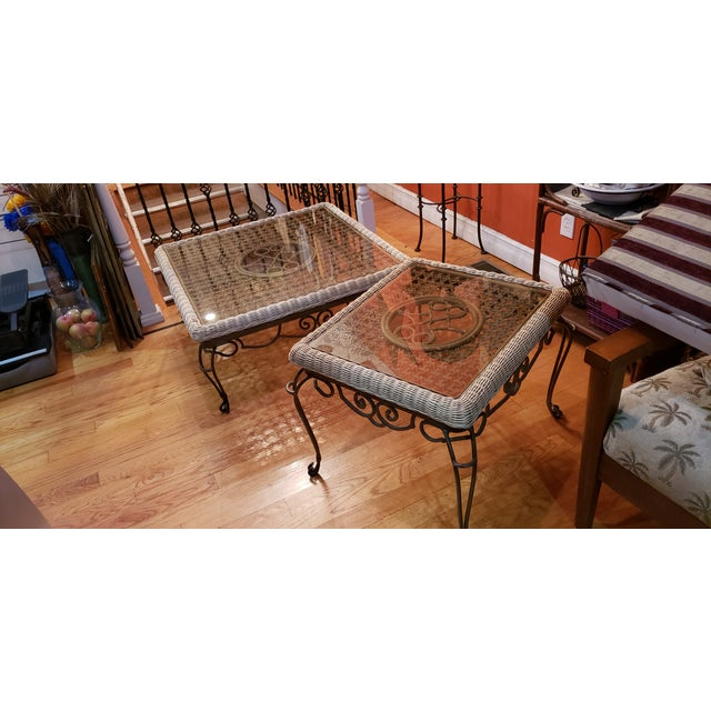 Brown Shabby Chic Wrought Iron Table Set With Wicker Inlays and Smoked Glass Tops - a Pair For Sale - Image 8 of 13