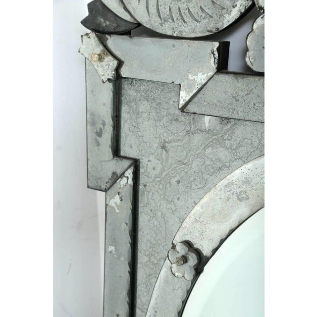 Gray Hollywood Regency Venetian Mirror With Elegant Shield Design, 1940's For Sale - Image 8 of 13