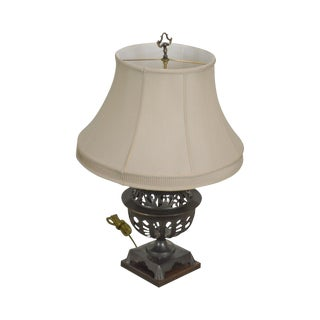Frederick Cooker Bronze Table Lamp With Shade For Sale