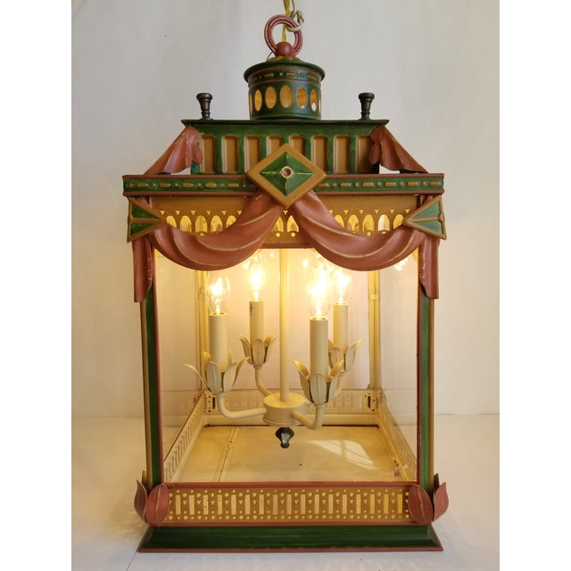 Large Highly Decorative Painted Tole Lantern For Sale - Image 12 of 13