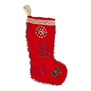 Vintage Red Felt and Fringe Beaded Holiday Stocking For Sale