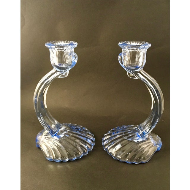 Mid-Century Modern Mid-Century Cambridge Caprice Glass Candlesticks- A Pair For Sale - Image 3 of 8