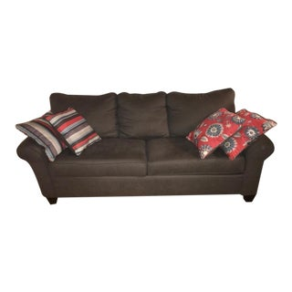 Raymour and Flanigan Gray Chenille Sofa with Pillows