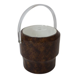 Vintage Saks 5th Ave Nyc Ice Bucket - Faux Tortoise Shell and Lucite For Sale