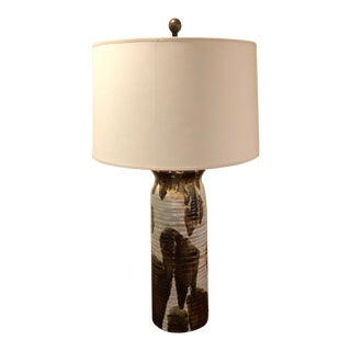 Vaughan Lighting Glazed Ceramic Lamp With Shade For Sale