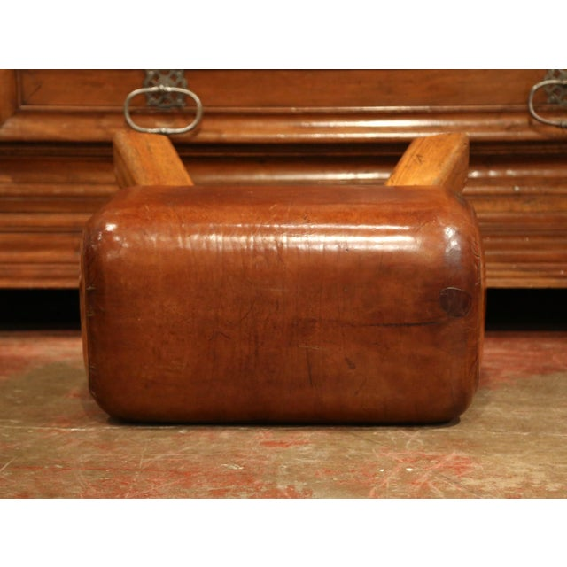 Early 20th Century Early 20th Century Czech Pommel Horse Bench With Patinated Brown Leather For Sale - Image 5 of 10