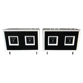 1950s Hollywood Regency Black and White Cabinets - a Pair For Sale