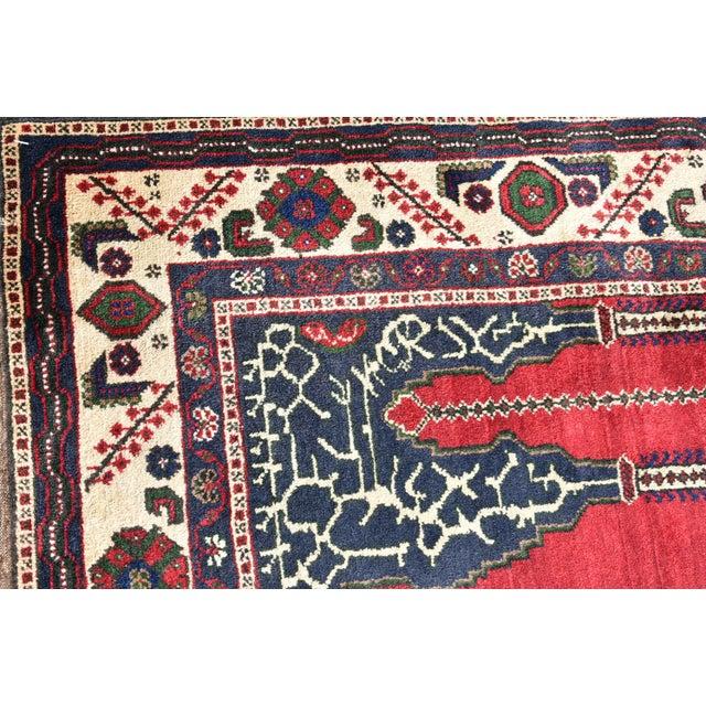 Turkish Vintage Oriental Design Red-Blue Color Carpet - 4x8.5 For Sale - Image 11 of 12
