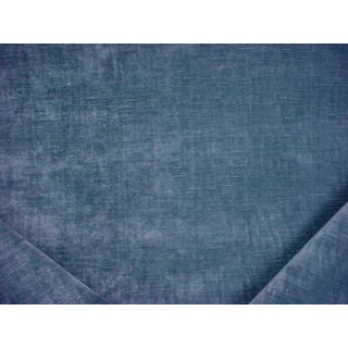 3-1/4y Robert Allen 247508 Lustre Velvet Cove Blue Linen Upholstery Fabric For Sale