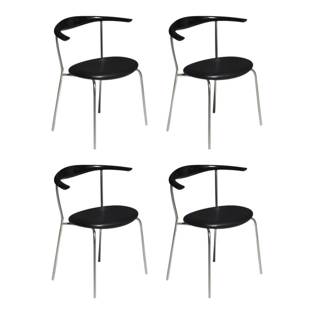 Set of 4 Hans Wegner PP701 Bull Horn Dining Chairs in Black Lacquer, Leather and Steel For Sale