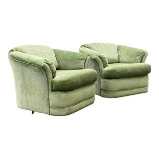 Flexsteel Green Velvet Swivel Chairs - a Pair For Sale