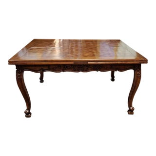 French Walnut Parquet Top Dining Table C.1920 For Sale