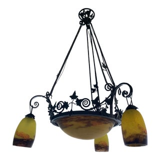 Degué Wrought Iron Chandelier For Sale