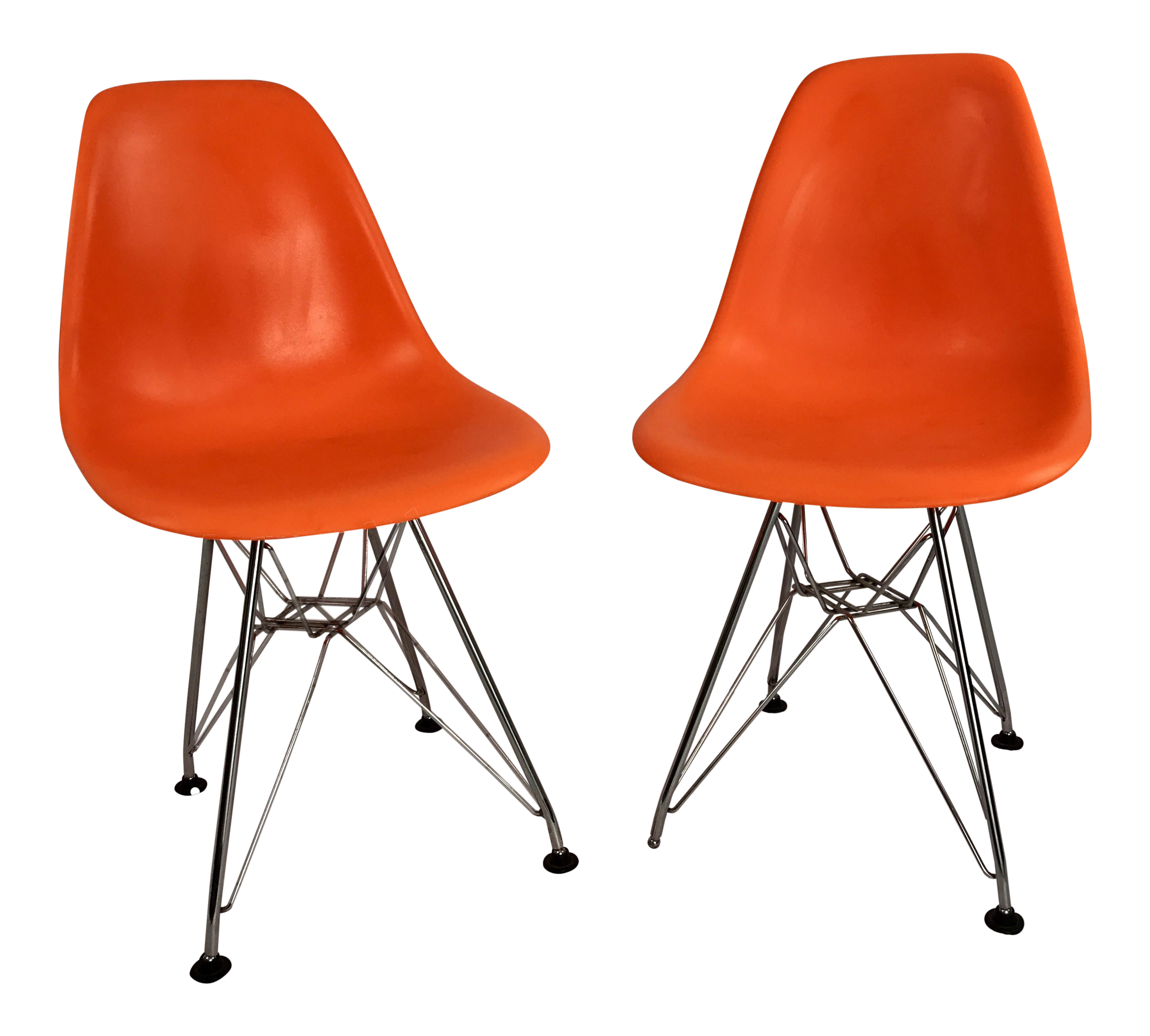 Superior Childrenu0027s Orange Molded Plastic Eiffel Side Chairs After Eames   A Pair