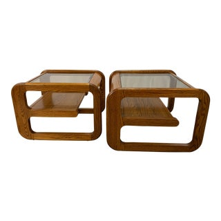 1970s Mid-Century Modern Lou Hodges Oak and Smoked Glass End Tables -- Set of 2 For Sale