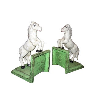 White Stallion Cast Iron Bookends - A Pair For Sale