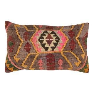 "Vibrant Vintage Kilim Lumbar Pillow   12"" X 20"" For Sale"