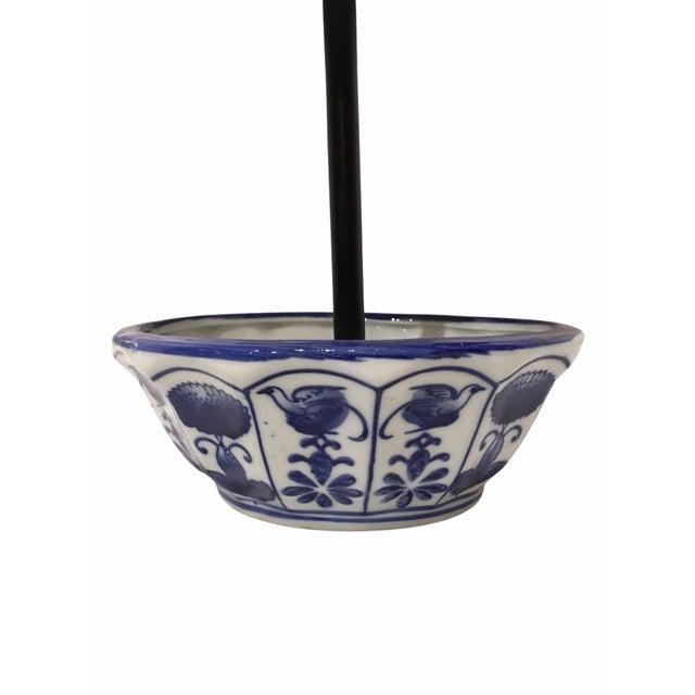 Contemporary Cobalt Blue Porcelain Bird Feeder For Sale - Image 4 of 6