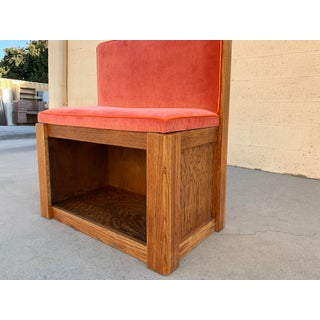 Vintage Oak Bench With Velvet Seat and Storage, Newly Upholstered Preview