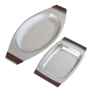 Danish Modern Stainless Steel and Wood Serving Trays - Set of 2 For Sale