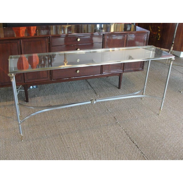 Elegant Two-Tone Steel & Brass Console by Jansen For Sale - Image 4 of 5